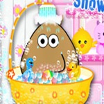Pou take a shower