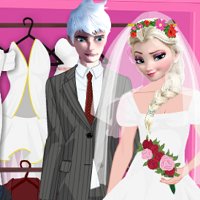 Play Elsa and Jack Wedding Dress Up