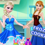 Elsa and Anna Cooking Cake